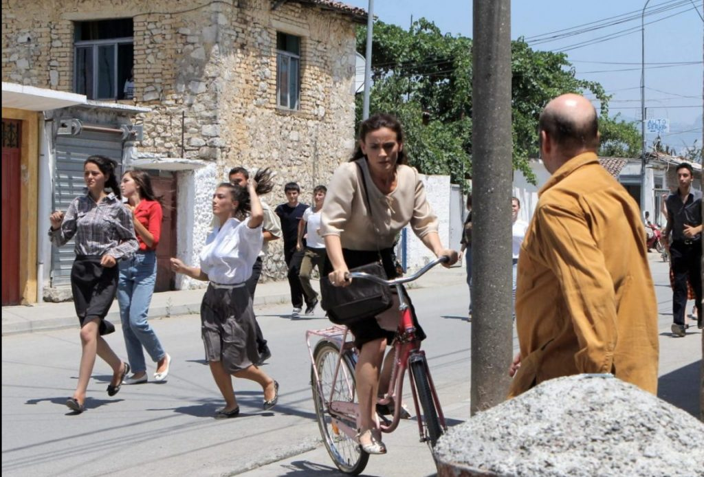Still of Greta Zenelaj filming Eagle in Albania.