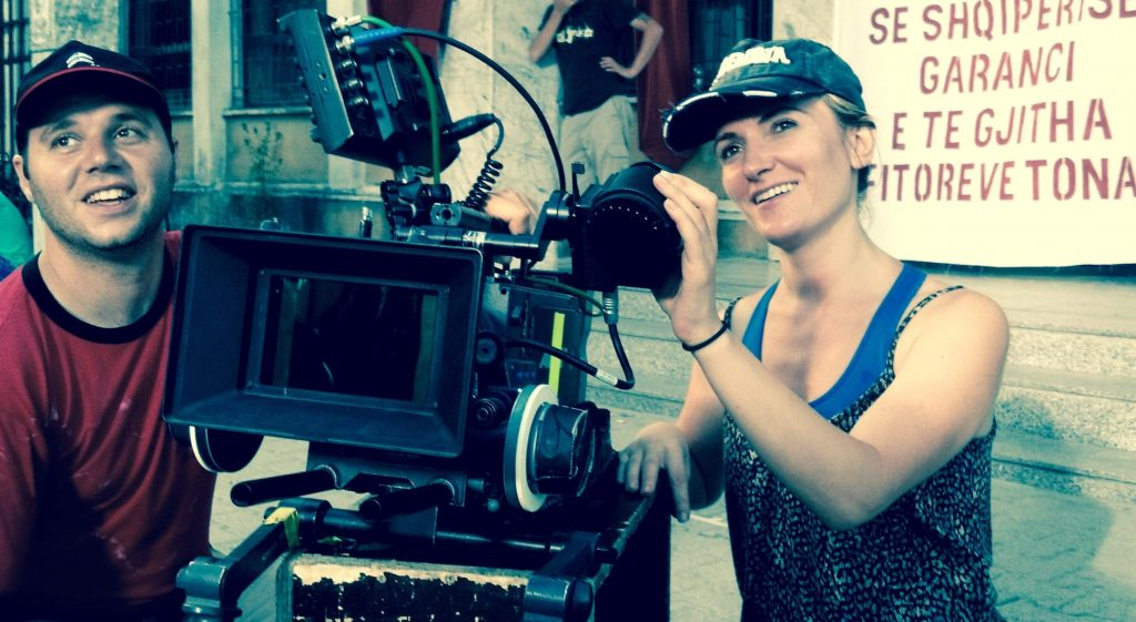 Vilma Zenelaj zooming in while filming Eagle in Albania.